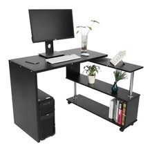 360 Degree Rotatable L Shaped Corner Computer Office Desk With Book Shelves Home Desk Commercial Furniture