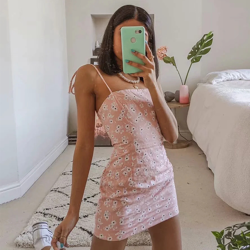 Foridol daisy print <font><b>blue</b></font> <font><b>pink</b></font> summer beach <font><b>dress</b></font> <font><b>women</b></font> lace up <font><b>sexy</b></font> backless floral bohemian short minidress sundress vestidos image