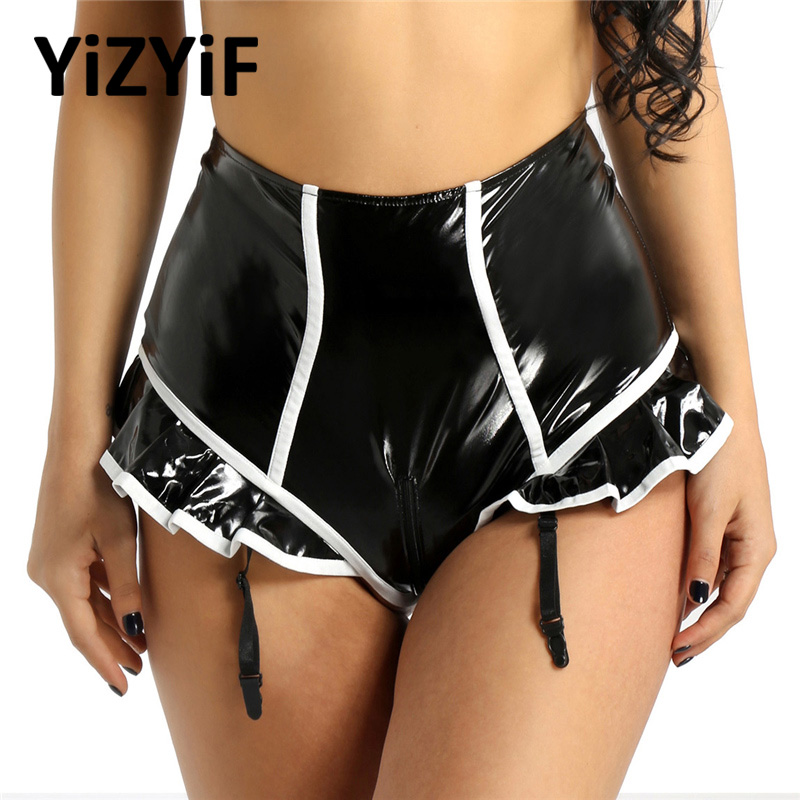 Sexy Women Bikini Bottoms with Garter Leather Briefs High Waist Skirted Thong Zipper Open Crotch Panties Ruffle Shorts Swimsuit