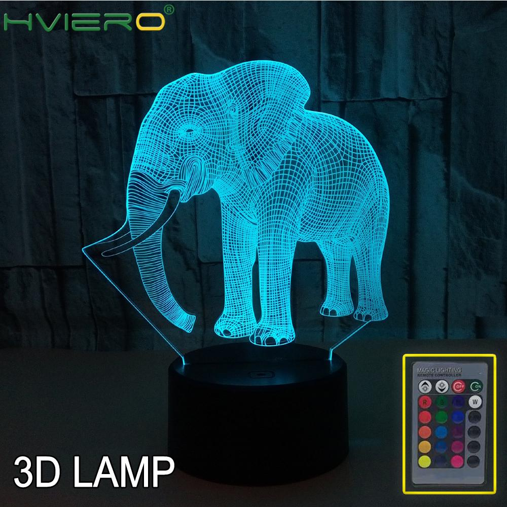 Elephant Outline 3D Night Light, Colorful Touch LED Visual Light, Gift Atmosphere 3D Small Table Lamp