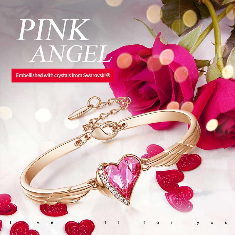 Cdyle หรูหราเครื่องประดับ Angel Wings Rose Gold สร้อยข้อมือคริสตัลสีชมพูหัวใจ Charm กำไลสำหรับสุภาพสตรีอุปกรณ์เสริม