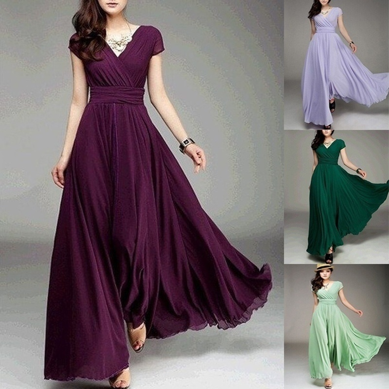 Plus Size S-5XL Sleeveless Maxi Long Dress Women Fashion Slim V-neck Evening Party Elegant Chiffon Dress Bohemian Long Vestidos