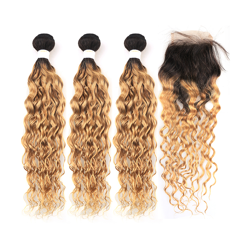 T1B/27 Brazilian Water Wave Human Hair Weave Bundles With Closure 4*4 Ombre Brown Hair Bundles With Closure KEMY HAIR Non-remy