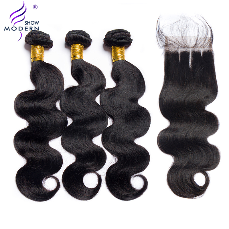 Malaysian Hair Wave 3 Bundles With Lace Closure Body Wave Bundles With Closure Non-Remy Human Hair Extension Modern Show Hair