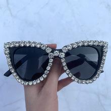 2020 New Vintage Fashion Luxury kocie oko diamentowe okulary przeciwsłoneczne damskie kryształowa ramka z kryształem górskim marka projektant okulary przeciwsłoneczne dla kobiet tanie tanio TOYEARN WOMEN Adult Z tworzywa sztucznego Gradient Fotochromowe UV400 47mm Z poliwęglanu S9051 53mm