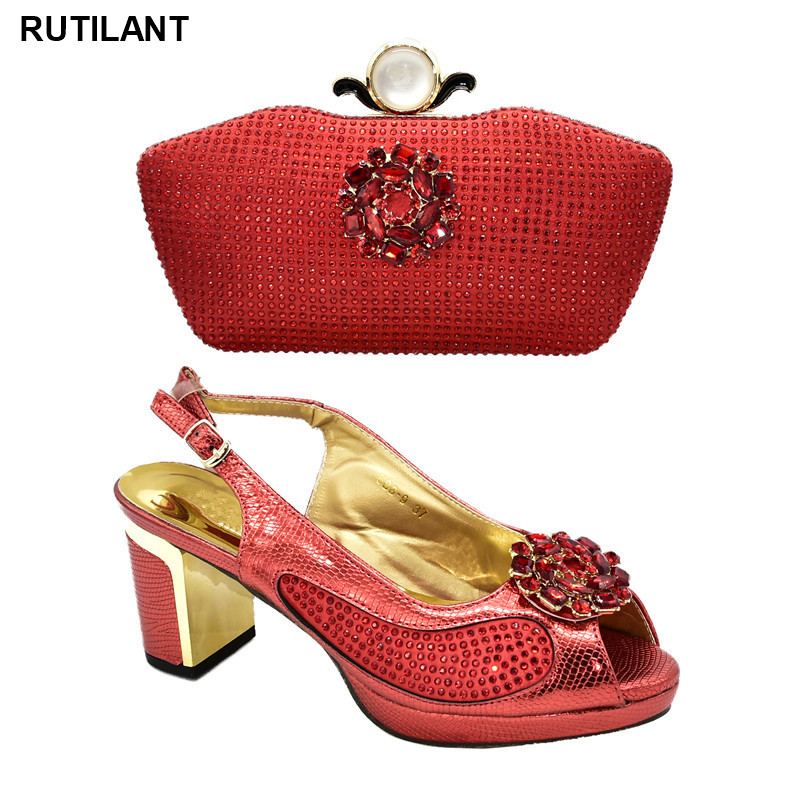 New Fashion  Red Color Shoe And Bag Set For Party In Women African Wedding Shoes Italian Shoes With Matching Bags High Quality