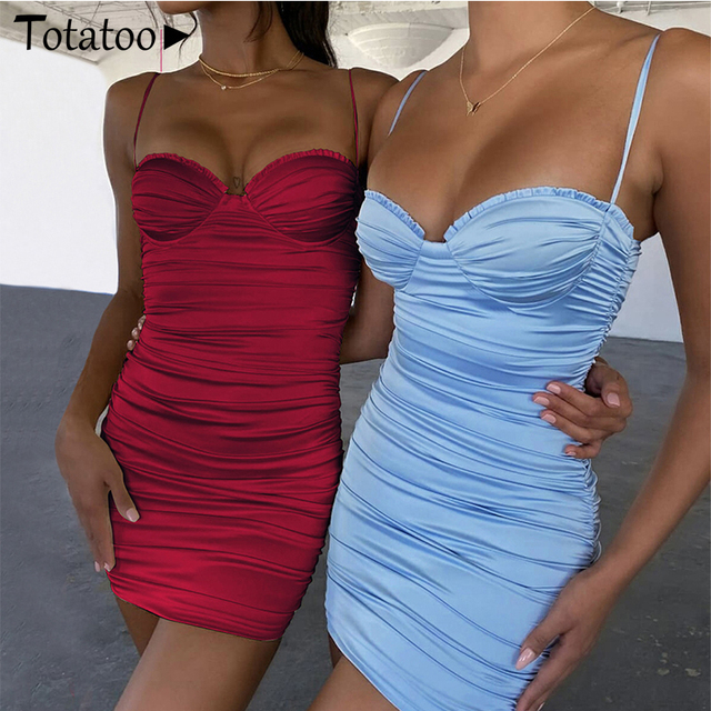 Totatoop Lace Up V Neck Ruched Bodycon Mini Dress Women 2020 Summer Hollow Out Ruffles Sundress Beachwear Vestidos 6