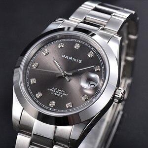 Nowy Parnis 39.5mm szary Dial automatyczne zegarki męskie szafirowe okno daty mechaniczny zegarek męski 2020 man clock box