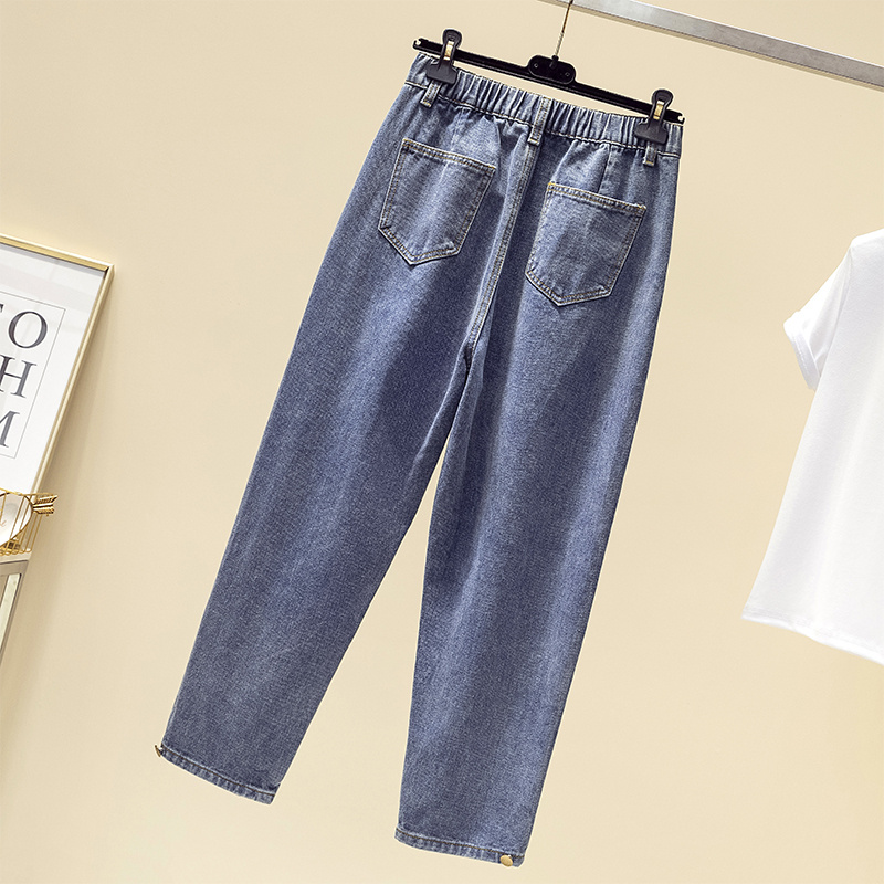 Jeans Per Le Donne Più Il Formato Autunno Inverno Velluto Addensare di Alta Waiste Allentato Ammorbidente Caviglia-lunghezza Mamma Denim Pantaloni Stile Harem 4xl 5xl