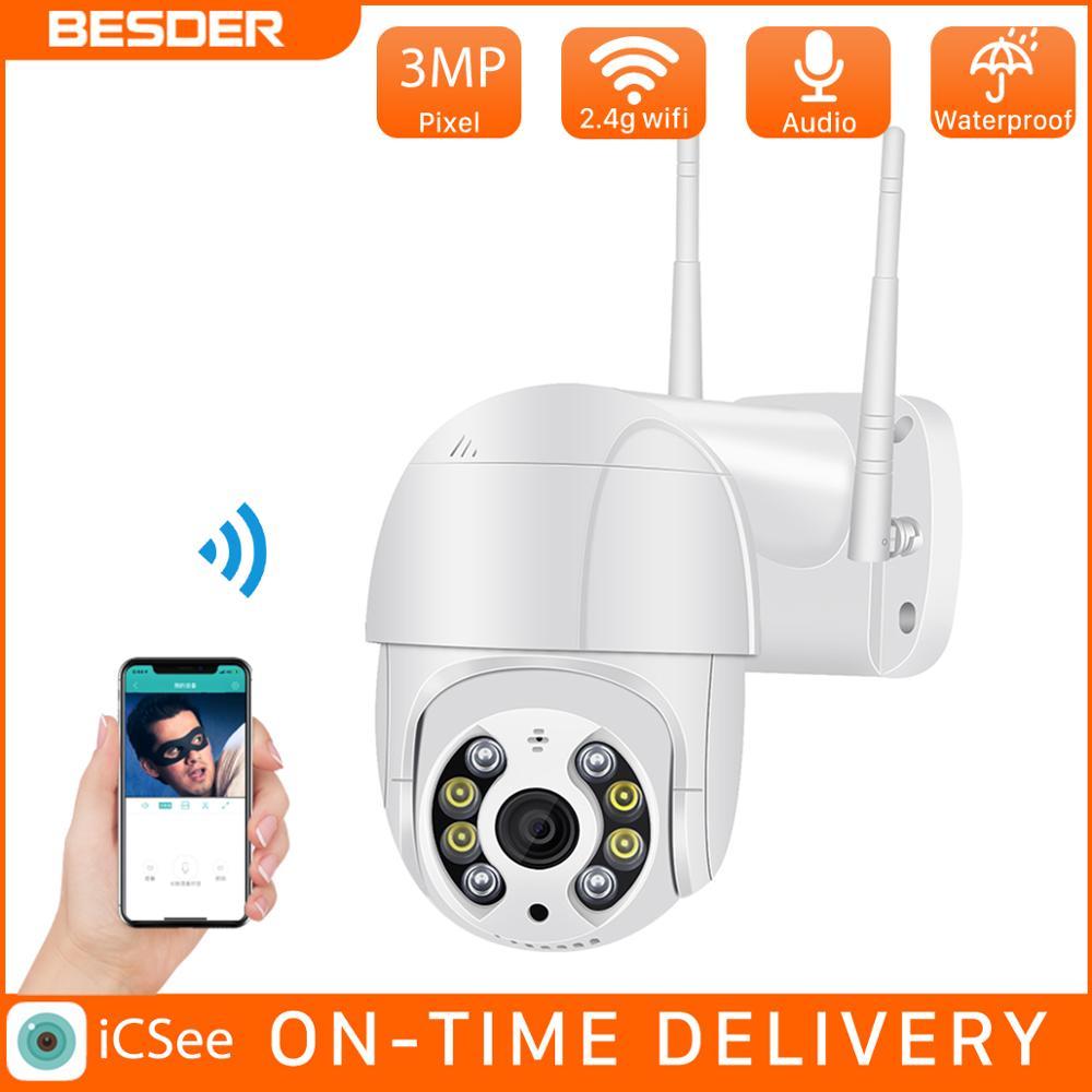 Besder 3mp ptz wi fi câmera movimento dois alerta de voz detecção humana ao ar livre câmera ip áudio ir visão noturna vídeo cctv surveillan