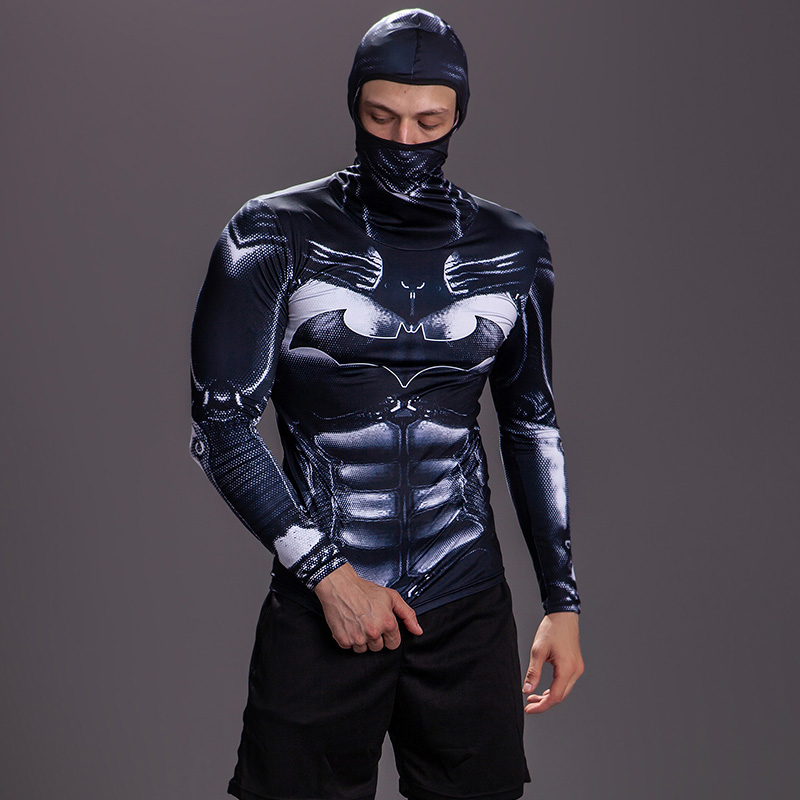 New Hooded Locomotive Windproof Tights Tshirt High Elastic Quick-drying Sports Motorcycle Cycling Clothing Men's Bottoming Shirt