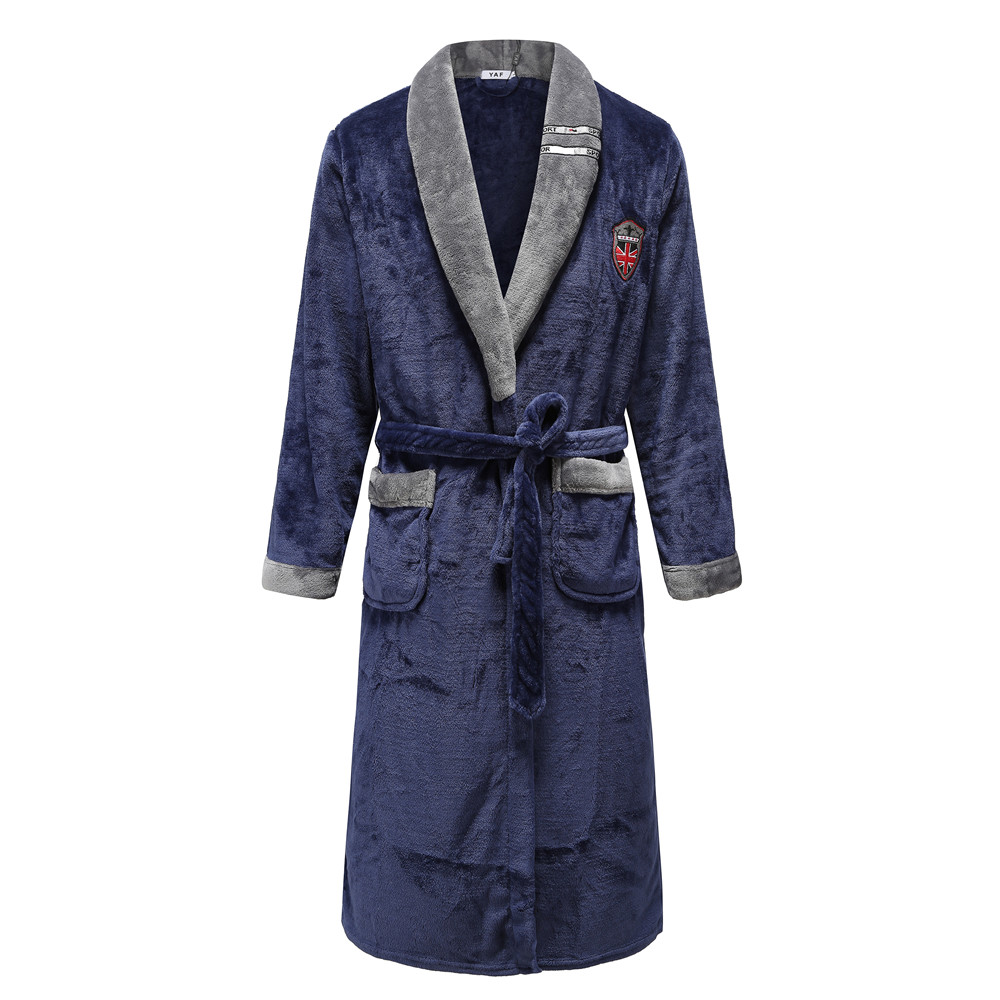Autumn Winter Nightdress Navy Blue Men Coral Fleece Sleepwear Warm Couple Home Wear Flannel Belt Pyjamas Kimono Bathrobe Gown