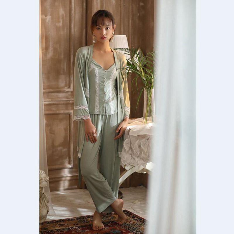 Youhottest Silk Pajamas Sets Women Sexy Robers 3pcs Women Spaghetti Straps Robe Set