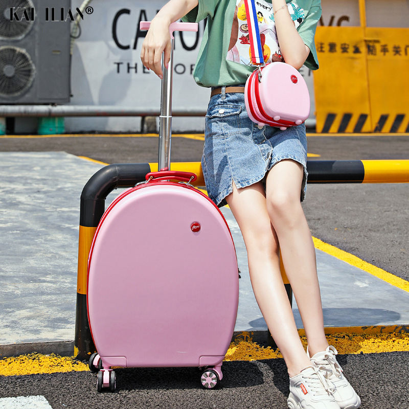 20''Rolling luggage set Student's trolley suitcase on wheels kid's Cartoon Cute rounded luggage for Girls Carry on suitcase
