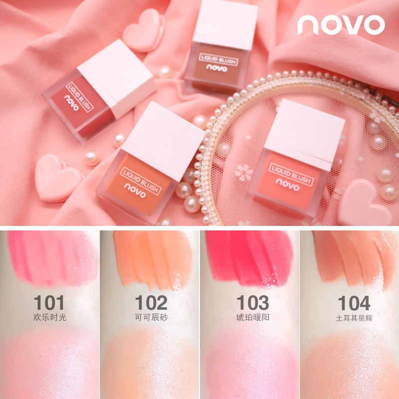 NOVO Makeup Face Liquid Blusher Sleek Silky Juice Blush Long Lasting Natural Cheek Blush Face Contour Make Up Korean Waterproof