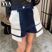 High Waist Mixed Colors Patchwork Blue White Shorts Women Straight Casual Shorts Design Summer Mini Trousers Female Cargo Shorts