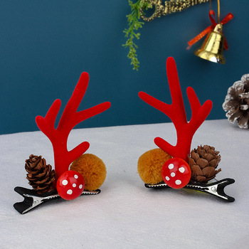 Girl Christmas Golden Pom Poms Hair Clips Sequins Antlers Hairpin Elk Barrettes Cartoons Photography Props Cosplay Kids New Year