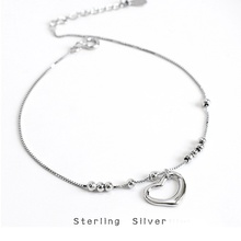 ZOBEI 925 Sterling Silver Circle  Heart Anklet For Women Round Geometric Metal Chain Fine Jewelry Party Birthday Gift