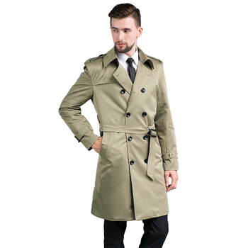 Men's Spring Autumn Outerwear Fashion Medium Length Trench Coats 4XL Double Breasted Long Men's Trench Coat British Coat 2020 fashion new women trench coat long double breasted belt blue khaki lady clothes autumn spring outerwear