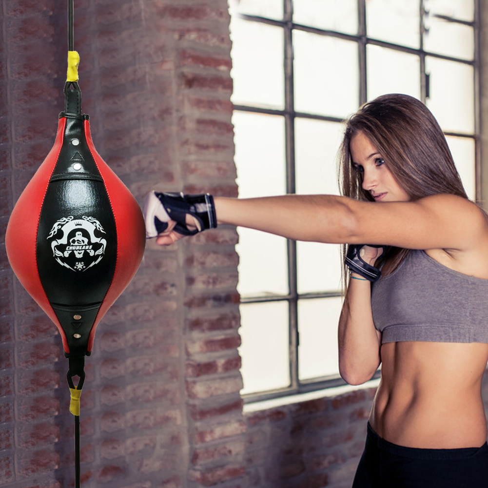 New Leather Double End Dodge Speed Ball MMA Boxing Floor to Ceiling Punch Bag