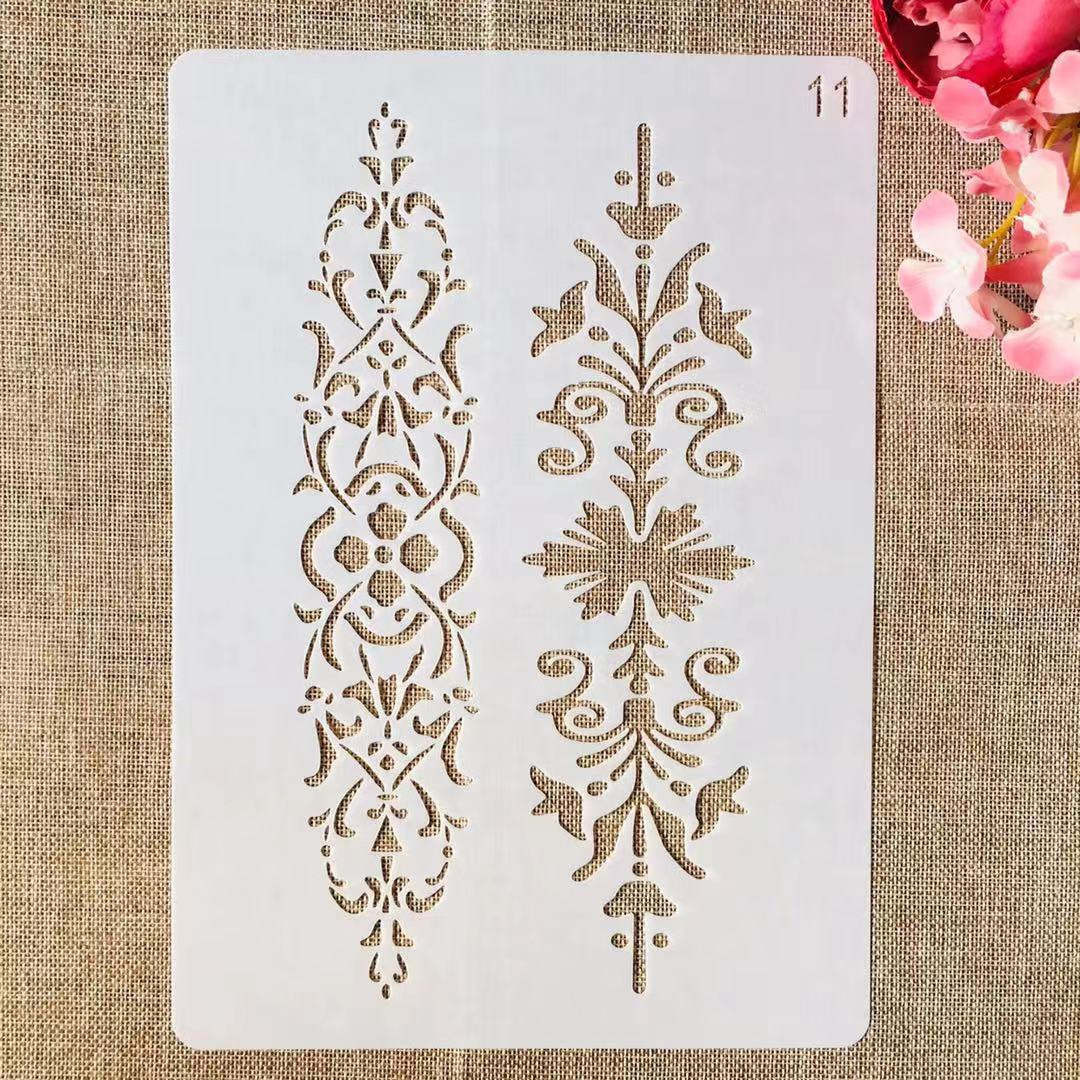 1Pcs A4 29cm Leaves Lines Bar DIY Layering Stencils Painting Scrapbook Coloring Embossing Album Decorative Template