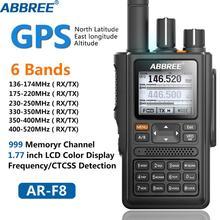 ABBREE AR F8 GPS 6 Bandas (136 520 MHz) 8W 999CH VOX DTMF SOS Visor LCD a Cores Amateur Ham Two Way Radio Walkie Talkie