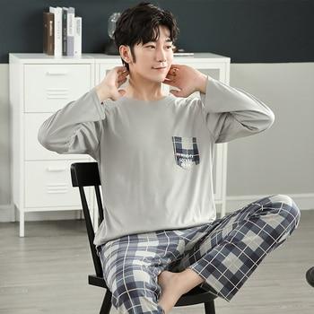 New Autumn Winter Cotton Pyjama Men Pajama Set Fashion Plaid Sleepwear Suit With Pocket Casual Comfortable Sports Warm Outwear 3
