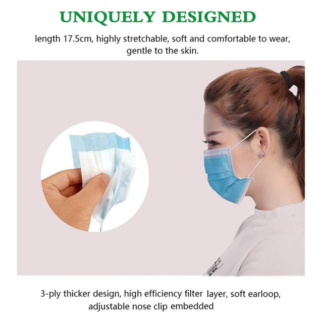 In stock! 50 Pcs Disposable Face Mask Non-woven 3 Layer Anti-Pollution Dust-Proof Haze Anti-Flu Earloop Safety Masks Pk FFP3 N95 4