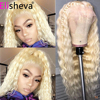 613 Deep Wave Wig 13x4 Transparent 613 Lace Frontal Wigs Peruvian Honey Blonde Lace Front Wig  Human Hair PrePlucked Closure Wig