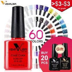 Гель - лак для дизайна ногтей Venalisa , новый УФ гель-лак для ногтей, 60 цветов , 7.5 мл ., эмаль отмачивается, бесплатная доставка