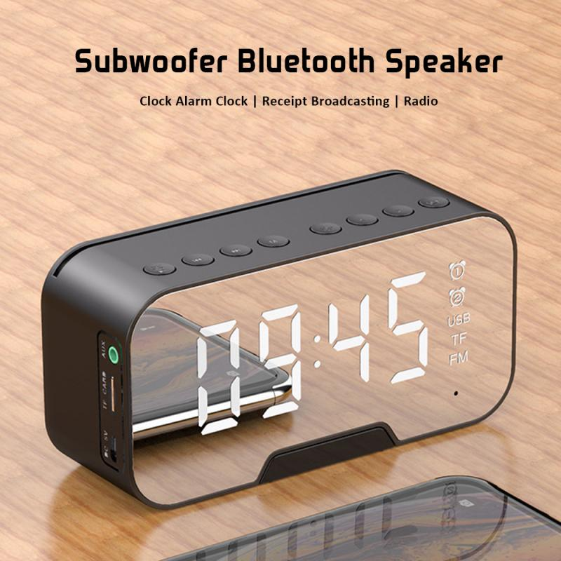 Wireless Bluetooth Speaker Aux USB FM Radio Music Player LED Mirror Alarm Clock