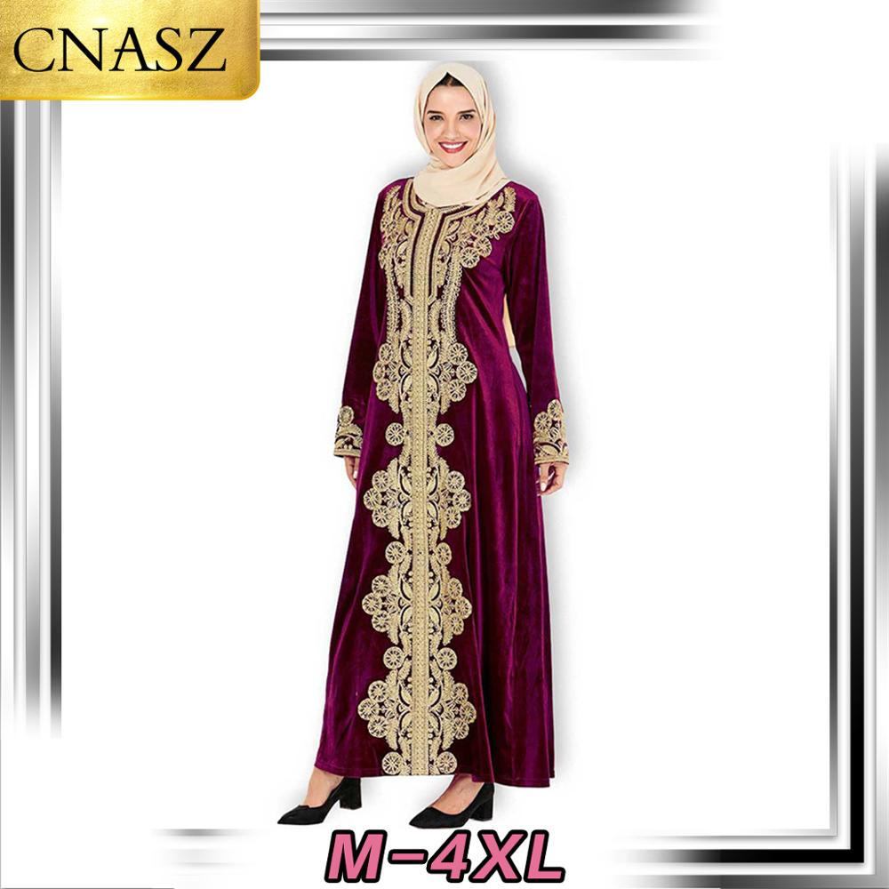 Muslim Dress Islamic Turkey Fashion Plus Size Women's Dubai Embroidered Long Sleeve Arabian Gold Velvet Dress Middle East Kimono image