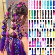Long Kanekalon Jumbo Braids Crochet Hair Synthetic Xpression Braiding Hair Extension Ombre Pre Stretched Fake Braid Rastas Pink