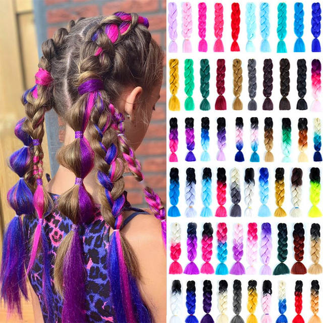 Long Kanekalon Jumbo Braids Crochet Hair Synthetic Xpression Braiding Hair Extension Ombre Pre Stretched Fake Braid Rastas Pink