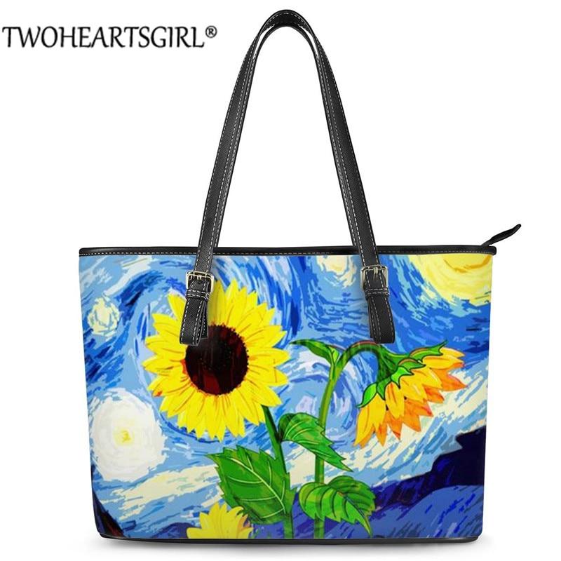 Twoheartsgirl Painting Sun Flowers Shoulder Handbags Large Capacity Handbag StylishLuxury Beach Bags Tote Bags Bolsa Mujer