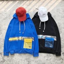 купить Autumn New Hoodies Men Fashion Contrast Color Casual Hooded Sweatshirt Man Streetwear Wild Loose Hip Hop Hoodie Men Hoody M-3XL по цене 1278.53 рублей