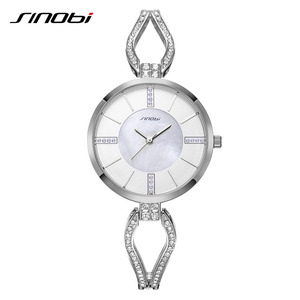 Image 5 - SINOBI relojes de lujo para mujer, pulsera de diamante, elegante, de cuarzo, femenino
