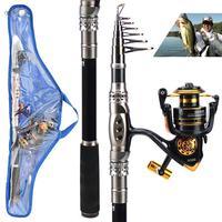 Carbon steel 1.8/2.1/2.4/2.7/3.0/3.3 m fishing rod 3000# fishing reel retractable rod portable fishing set