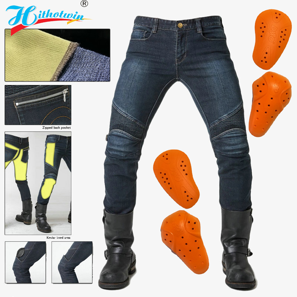 New summerspringautumn motorcycle riding jeans wear plus velvet men s anti-fall motorcycle pants trousers can protectio