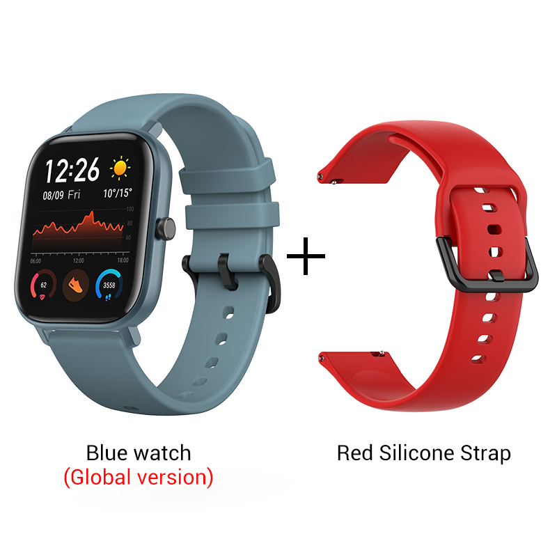 СМАРТ-ЧАСЫ XIAOMI HUAMI AMAZFIT GTS- Выглядит как часы Apple - Цвет: Blue n Red strap