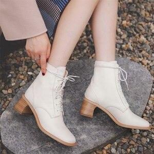 Image 5 - FEDONAS สบาย SheepSkin ผู้หญิงข้อเท้ารองเท้าบูทยี่ห้อฤดูหนาวสั้นอบอุ่นขนาดใหญ่พรรคหญิงสูงรองเท้าผู้หญิง