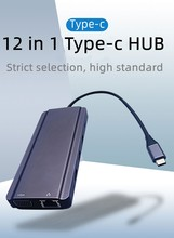 12 Port Usb c Hub for Macbook With Dual HDMI 1RJ45 1VGA 1Audio 3.5mm 3*USB3.0 SD/TF
