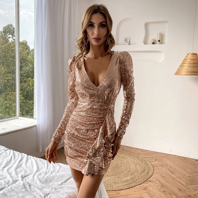 V Neck Short Cocktail Dress Gold 2021 New Spring Sequins Long Sleeves Sexy Straight Fashion Hot Party Homecoming Gown YSAN978