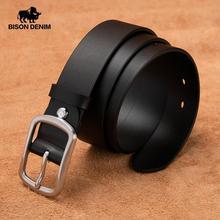 BISON DENIM Luxury Strap Genuine Leather Men Belt Stainless