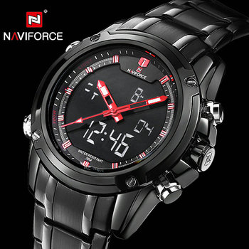 NAVIFORCE Military Watches Luxury Brand Quartz LED Digital Watch Full Steel Strap Waterproof Army Fashion Dual Time Analog Clock new famous brand luxury stainless steel watches men waterproof analog quartz watch clock man army military watches orologio uomo