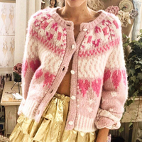 Pink Sweater Woman White Rose Buttons Supper Chic Mohair Knitted Cardigan Women 2019 Autumn Winter Cardigans Sweaters Fashion