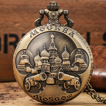 Vintage Retro Bronze Moscow Quartz Pocket Watch Casual Men Women Clock Pendant Necklace Chain Russia Souvenirs Gift Dropshipping retro bronze men fashion pocket watch national austria the double eagle chain necklace quartz full hunter emblem clock male