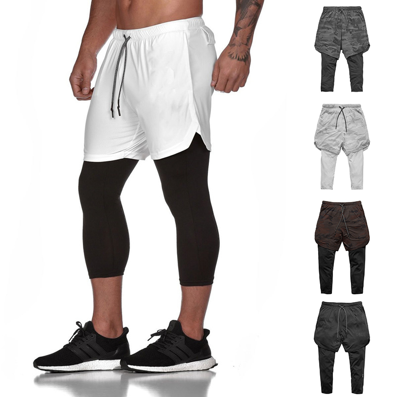 Men's 2in1 Running Shorts Quick-Drying Sports Running Pants With Phone Pocket Home Casual Shorts Newest Outdoor Running Shorts