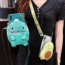 3D Cute Avocado Dinosaur Wallet lanyard Crossbody Phone Case For iPhone XS Max XR 6 6s 7 8 Plus X Soft Silicone Strap Cover