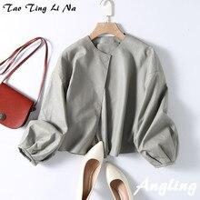 Tao Ting Li Na Echte Schafe Leder Jacke Frauen Hohe Taille Laterne Hülse Echt Leder Jacke G35